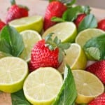 Frisse Limoen Munt Limonade met Aardbei