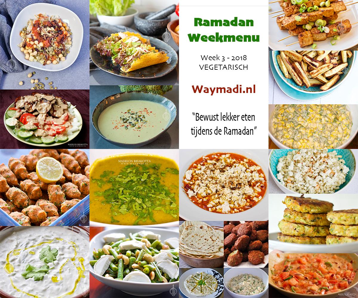 Ramadan weekmenu | Week 3 – 2018 Vegetarisch