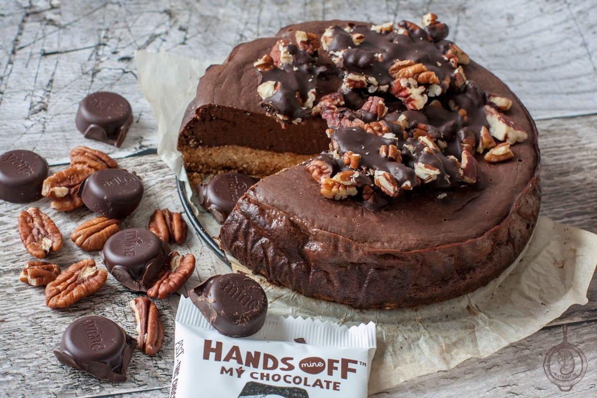 Koolhydraatarme Chocolade Cheesecake met Pecan Crunch